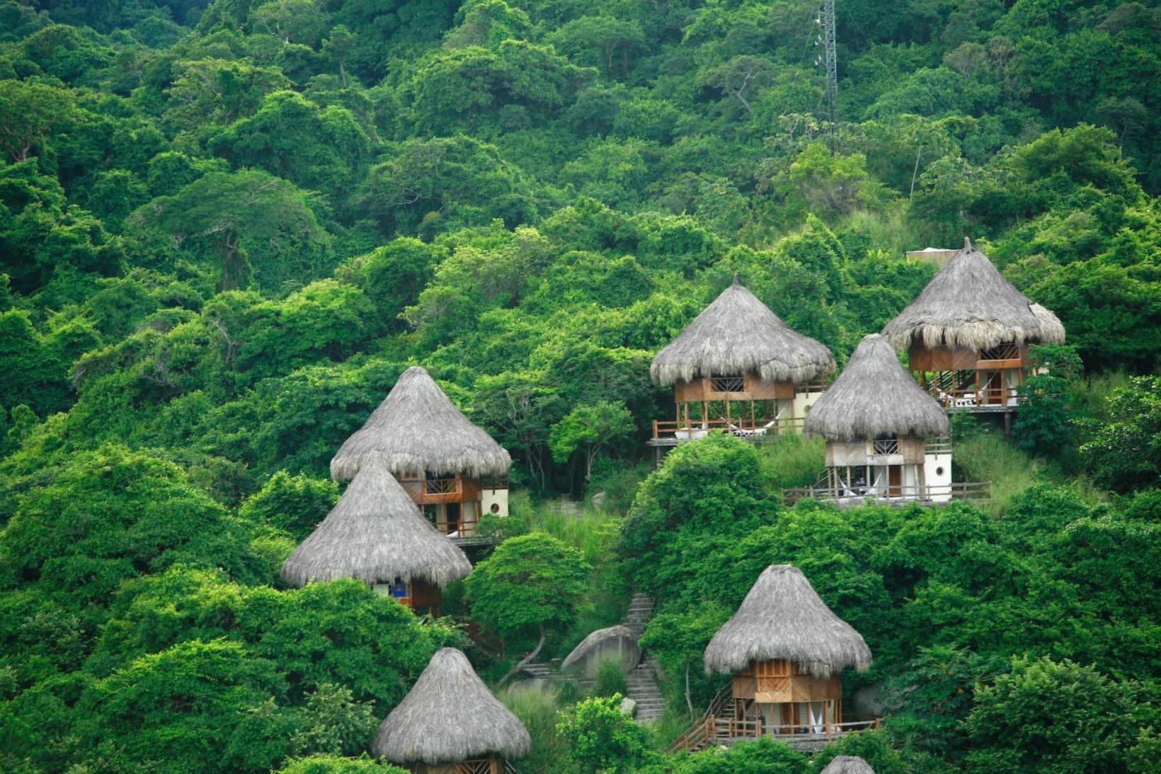 Os ecohabs são hospedagem no Parque Nacional de Tayrona. Foto: divulgação.