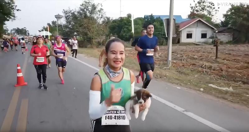 Corredora resgata cãozinho durante maratona 2