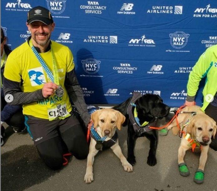 cães-guia na corrida