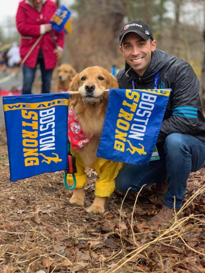 cachorro na maratona de boston