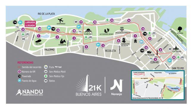 Percurso dos 21K de Buenos Aires 2019